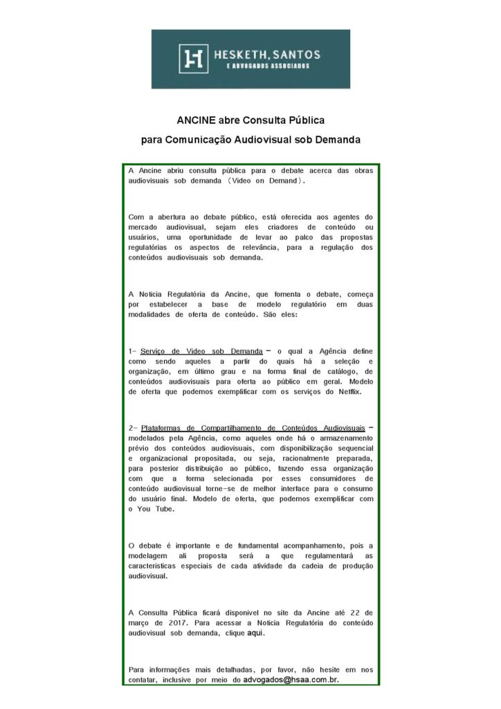 Consulta ANCINE – Audiovisual sob Demanda